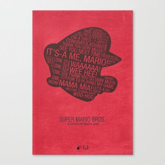 Super Mario Typography Canvas Print