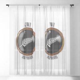 New Zealand Proud Flag Button Sheer Curtain