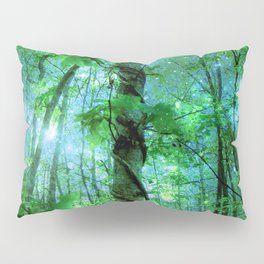 Forest Of The Fairies Green Blue Pillow Sham