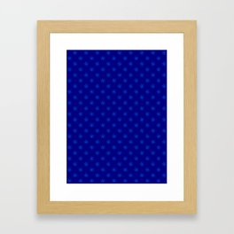 Brandeis Blue on Navy Blue Snowflakes Framed Art Print