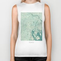 vintage map Biker Tanks featuring Tokyo Map Blue Vintage by City Art Posters