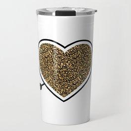 Leopard Animal Print Heart Cupid Arrow Celebrate Love Cute design Travel Mug