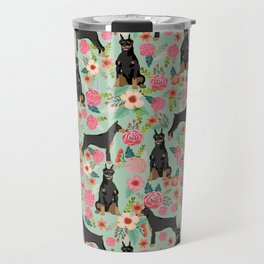 Doberman Pinscher florals must have dog breed gifts for dog person with doberman Travel Mug