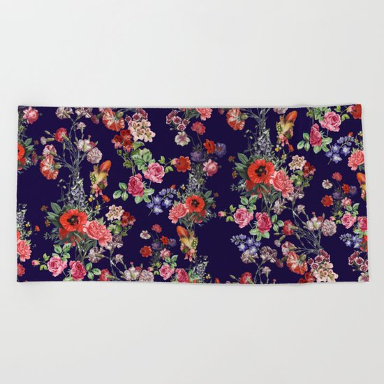 Botanical Pattern Beach Towel