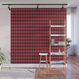 Argyle Red & Black, White Stitch Wall Mural