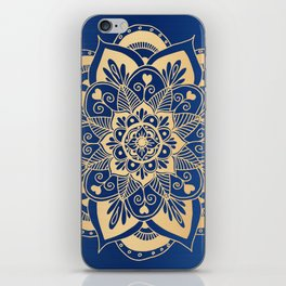 Blue and Gold Flower Mandala iPhone Skin