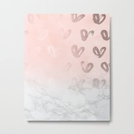 Rose Gold Hearts Marble Gradient Metal Print