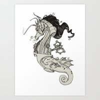 steam punk Art Prints featuring Steam Punk Horse  by FlyingFrogIllustration