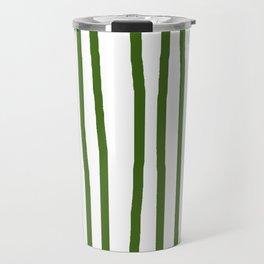 Simply Drawn Vertical Stripes in Jungle Green Travel Mug