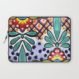 Colorful Talavera, Yellow Accent, Mexican Tile Design Laptop Sleeve