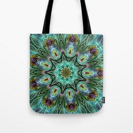 Colorful Peacock Feather Kaleidoscope Tote Bag