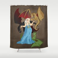 mother of dragons Shower Curtains featuring Mother of Dragons by Danielle Gransaull