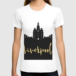 LIVERPOOL ENGLAND DESIGNER SILHOUETTE SKYLINE ART T-shirt