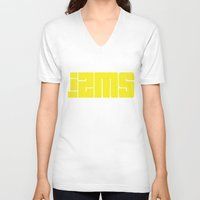 lettering V-neck T-shirts featuring Izms lettering by Izms of Art