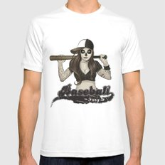 Baseball Fury MEDIUM White Mens Fitted Tee