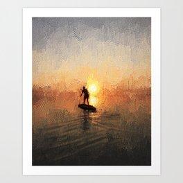 Paddleboarder Sunrise Art Print