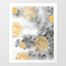 CHERRY BLOSSOMS AND YELLOW ROSES Art Print