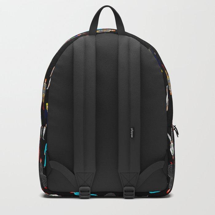 Heroes Scattered Pattern Black Backpack