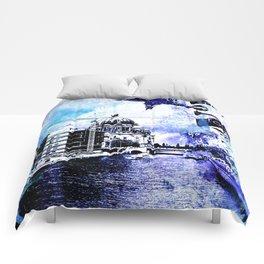 Berlin urban blue mixed media art Comforters
