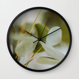 Modern MInimalist Nature Photography Close Up Of Mint Green Leaf Natural Organic Shapes Wall Clock