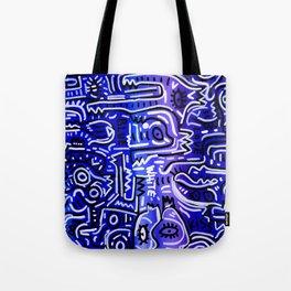 Blue Kiss Love Street Art Acrylic Posca Painting Tote Bag