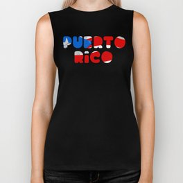 Puerto Rico Font with Puerto Rican Flag Biker Tank