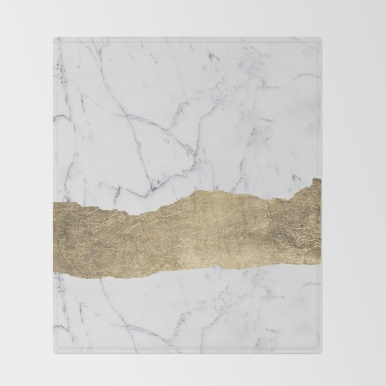 Elegant faux gold foil gray white modern marble by pink_water