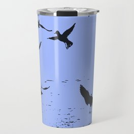 Silhouette Of A Flock Of Seagulls Over Water Vector Travel Mug