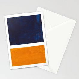 Navy Blue Yellow Ochre Abstract Minimalist Rothko Colorful Mid Century Color Block Pattern Stationery Cards