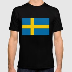 National flag of Sweden Mens Fitted Tee Black MEDIUM