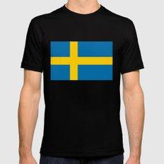 National flag of Sweden MEDIUM Black Mens Fitted Tee
