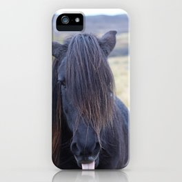 Icelandic Horse Sticking out Tongue, Color iPhone Case