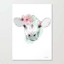 Cow with Hibiscus Canvas Print