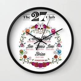 The 27 Club - Day of the Dead Circle of Flowers Wall Clock