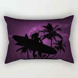 Purple Dusk with Surfergirl in Black Silhouette with Longboard Rectangular Pillow