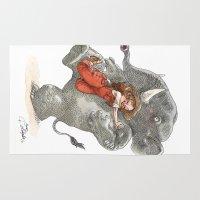 bouletcorp Area & Throw Rugs featuring Elephant Hug by Bouletcorp