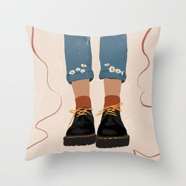 Fall Flower boots Throw Pillow