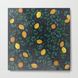 Lemon watercolor vintage pattern Metal Print