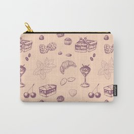 Sweet pattern with various desserts. Carry-All Pouch