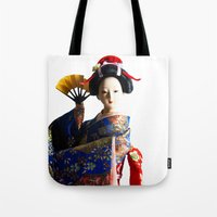 death cab for cutie Tote Bags featuring Cutie by Khaled Ali