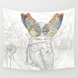 Miss Owl and butterfly friends at the Venice Carnival Wall Tapestry