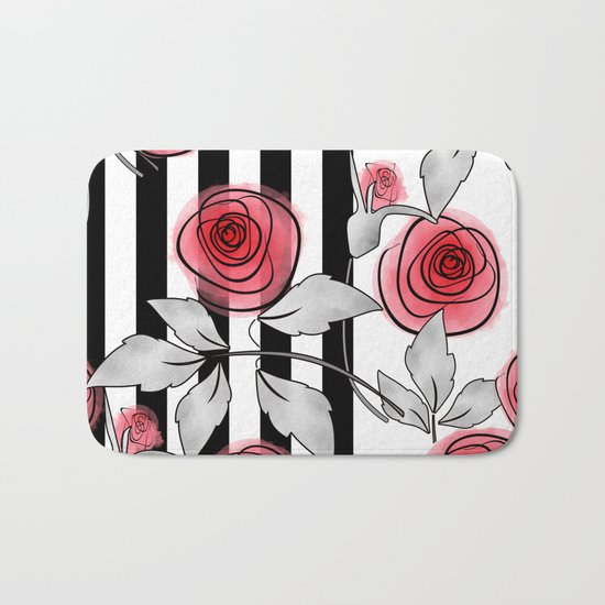 Red roses on black and white striped background. Bath Mat