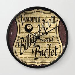 Vintage Vancouver Billiard Sign Wall Clock