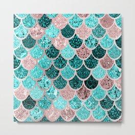 Mermaid Tail Scales Pattern, Aqua, Teal, Pink Metal Print