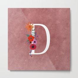 Beautiful Floral Monogram Illustrated Letter Art D Initial Metal Print
