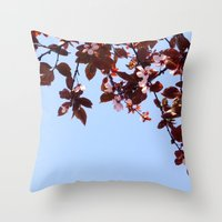 cherry blossom Throw Pillows featuring Cherry Blossom by madbiffymorghulis