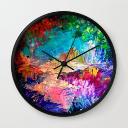 WELCOME TO UTOPIA Bold Rainbow Multicolor Abstract Painting Forest Nature Whimsical Fantasy Fine Art Wall Clock