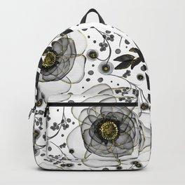 Translucent Floral Elegance // Black and gold pattern  Backpack