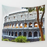 roman Wall Tapestries featuring Roman Coloseum by A/B Photography