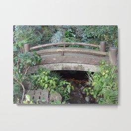 old wooden bridge over a brook Metal Print